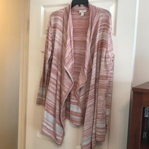 Loft Pink and Gray striped fly away cardigan